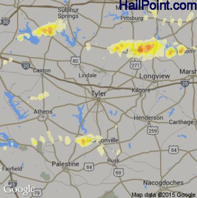 Hail Map for Tyler, TX Region on April 25, 2015