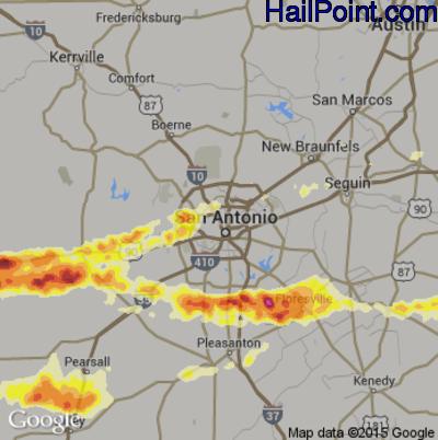 Hail Map for San Antonio, TX Region on April 25, 2015