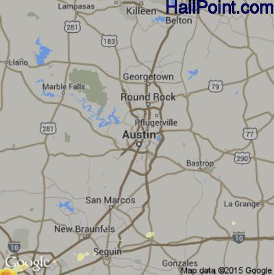 Hail Map for Austin, TX Region on April 25, 2015