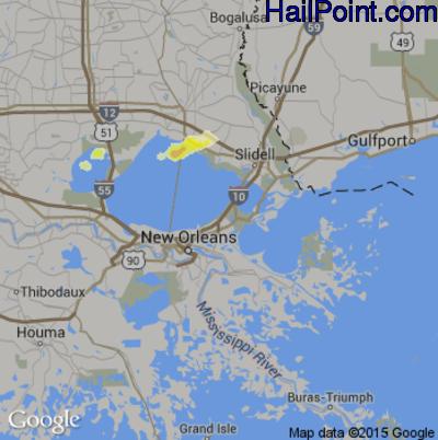 Hail Map for New Orleans, LA Region on April 25, 2015