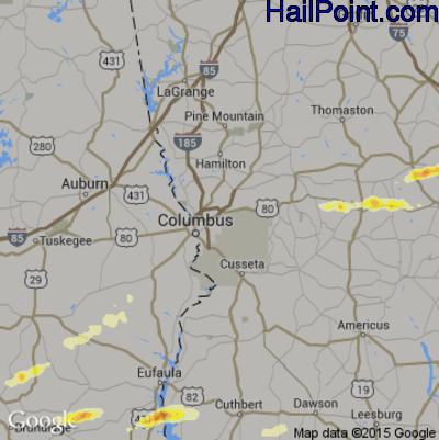 Hail Map for Columbus, GA Region on April 25, 2015