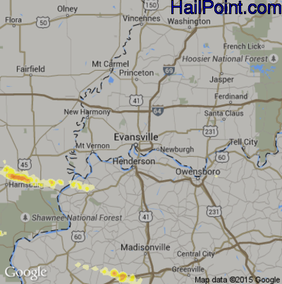 Hail Map for Evansville, IN Region on April 25, 2015