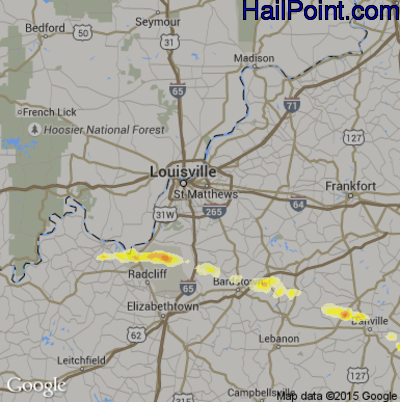Hail Map for Louisville, KY Region on April 25, 2015