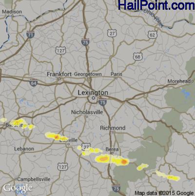 Hail Map for Lexington, KY Region on April 25, 2015