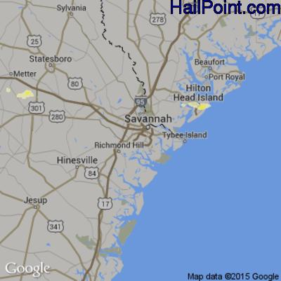 Hail Map for Savannah, GA Region on April 26, 2015