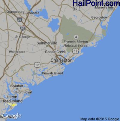 Hail Map for Charleston, SC Region on April 26, 2015
