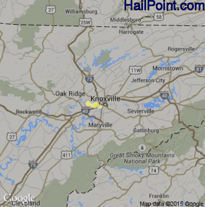 Hail Map for Knoxville, TN Region on April 26, 2015