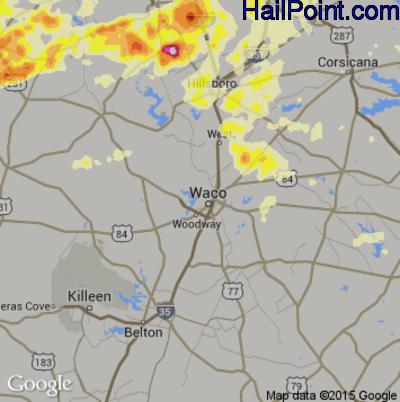 Hail Map for Waco, TX Region on April 26, 2015