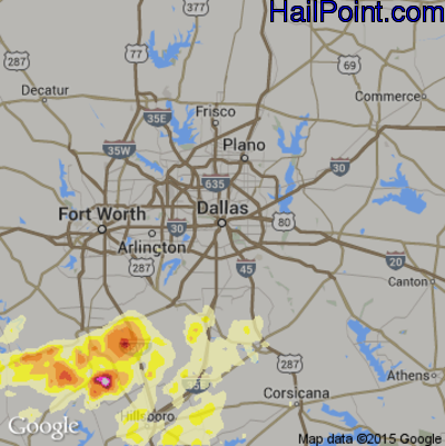 Hail Map for Dallas, TX Region on April 26, 2015