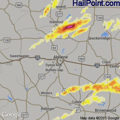 Hail Map for Abilene, TX Region on April 26, 2015
