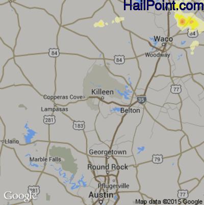 Hail Map for Killeen, TX Region on April 27, 2015