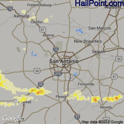 Hail Map for San Antonio, TX Region on April 27, 2015