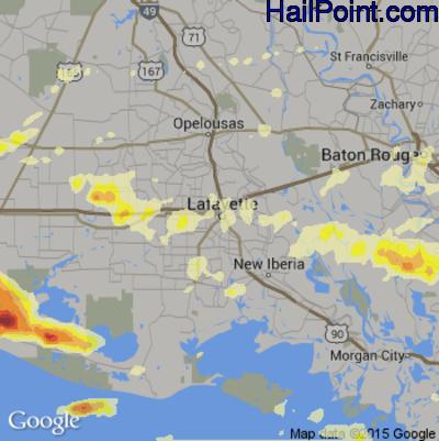 Hail Map for Lafayette, LA Region on April 27, 2015