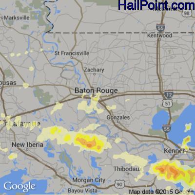 Hail Map for Baton Rouge, LA Region on April 27, 2015