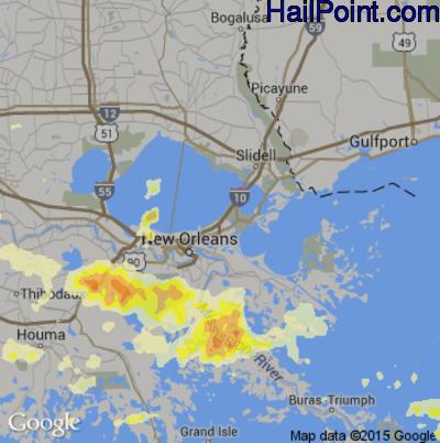 Hail Map for New Orleans, LA Region on April 27, 2015