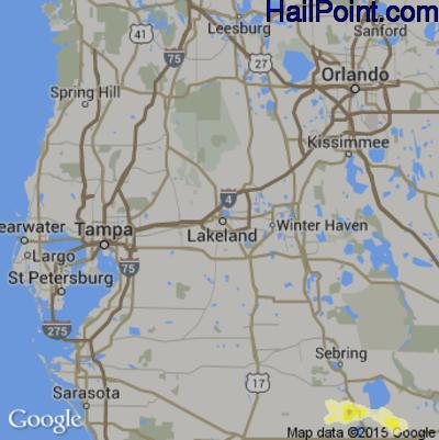 Hail Map for Lakeland, FL Region on April 27, 2015