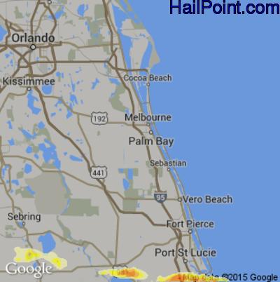 Hail Map for Palm Bay, FL Region on April 27, 2015