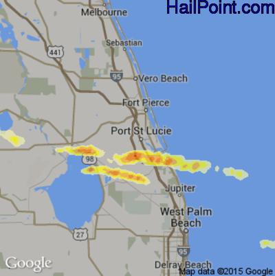 Hail Map for Port St. Lucie, FL Region on April 27, 2015