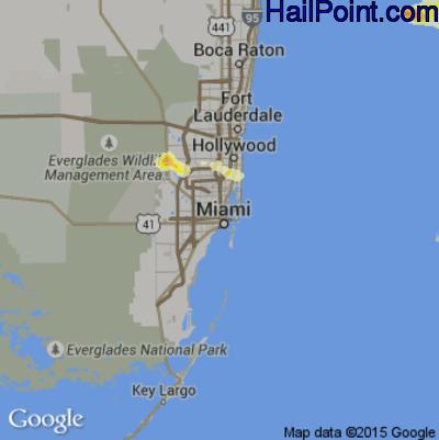 Hail Map for Miami, FL Region on April 27, 2015