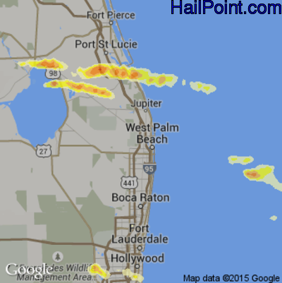 Hail Map for West Palm Beach, FL Region on April 27, 2015