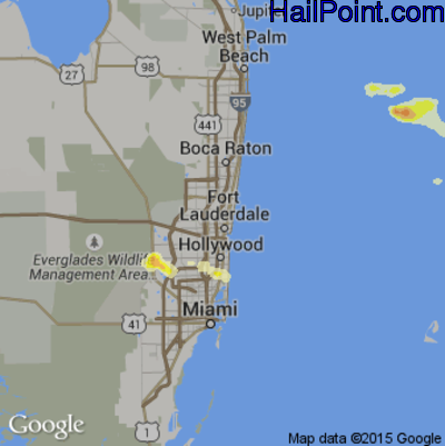 Hail Map for Fort Lauderdale, FL Region on April 27, 2015