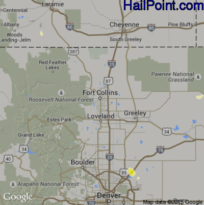 Hail Map for Fort Collins, CO Region on May 1, 2015