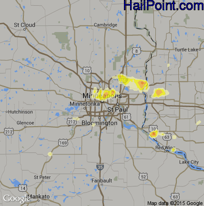 Hail Map for Minneapolis, MN Region on May 3, 2015