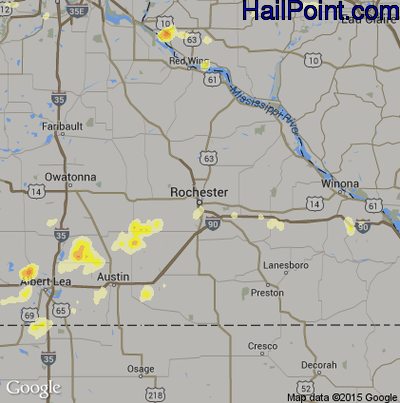 Hail Map for Rochester, MN Region on May 3, 2015