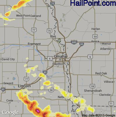 Hail Map for Omaha, NE Region on May 3, 2015