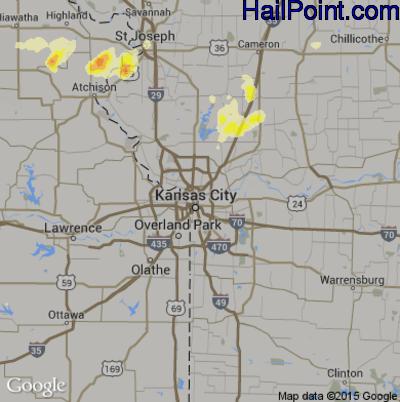 Hail Map for Kansas City, MO Region on May 4, 2015
