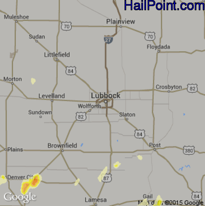 Hail Map for Lubbock, TX Region on May 4, 2015