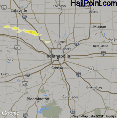 Hail Map for Indianapolis, IN Region on May 4, 2015