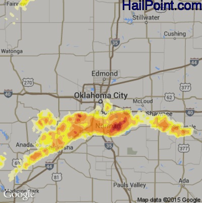 Hail Map for Oklahoma City, OK Region on May 6, 2015