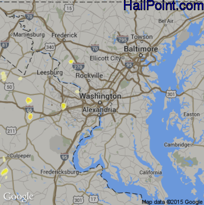 Hail Map for Washington, DC Region on May 6, 2015