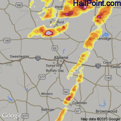 Hail Map for Abilene, TX Region on May 6, 2015
