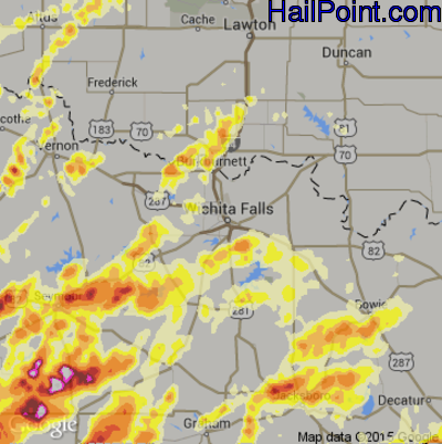 Hail Map for Wichita Falls, TX Region on May 6, 2015