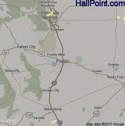 Hail Map for Pueblo, CO Region on May 7, 2015