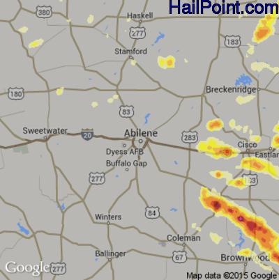 Hail Map for Abilene, TX Region on May 7, 2015