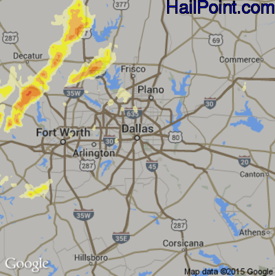 Hail Map for Dallas, TX Region on May 7, 2015