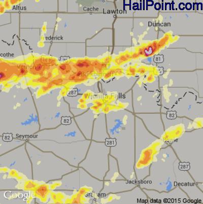 Hail Map for Wichita Falls, TX Region on May 8, 2015