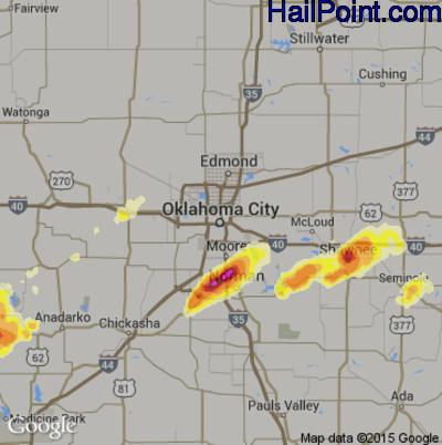 Hail Map for Oklahoma City, OK Region on May 8, 2015