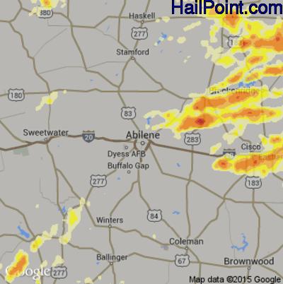 Hail Map for Abilene, TX Region on May 8, 2015
