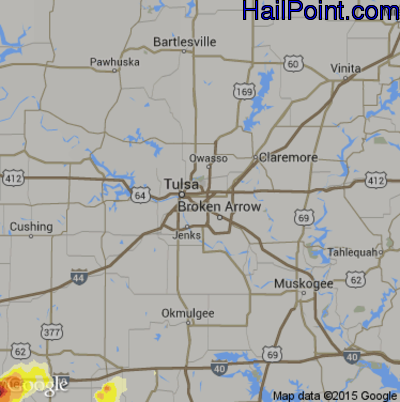 Hail Map for Tulsa, OK Region on May 8, 2015