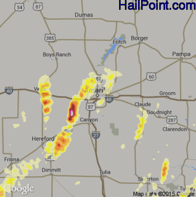 Hail Map for Amarillo, TX Region on May 9, 2015