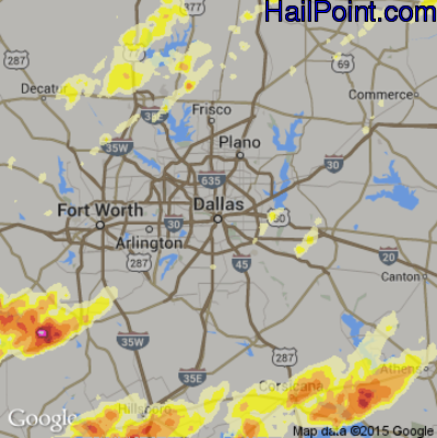 Hail Map for Dallas, TX Region on May 9, 2015