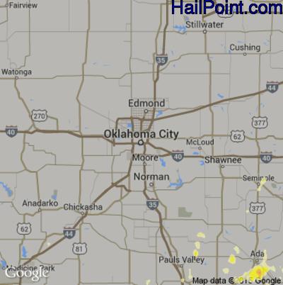 Hail Map for Oklahoma City, OK Region on May 9, 2015