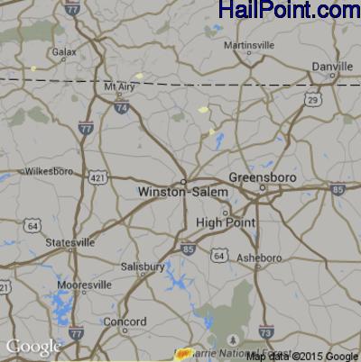 Hail Map for Winston-Salem, NC Region on May 11, 2015