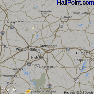 Hail Map for Greensboro, NC Region on May 11, 2015