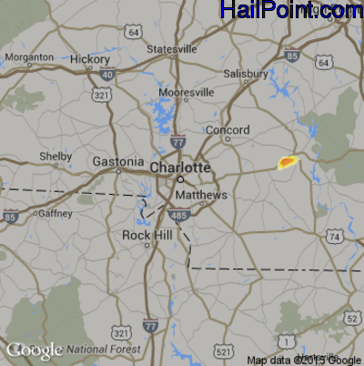 Hail Map for Charlotte, NC Region on May 11, 2015