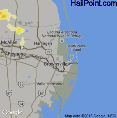 Hail Map for Brownsville, TX Region on May 12, 2015